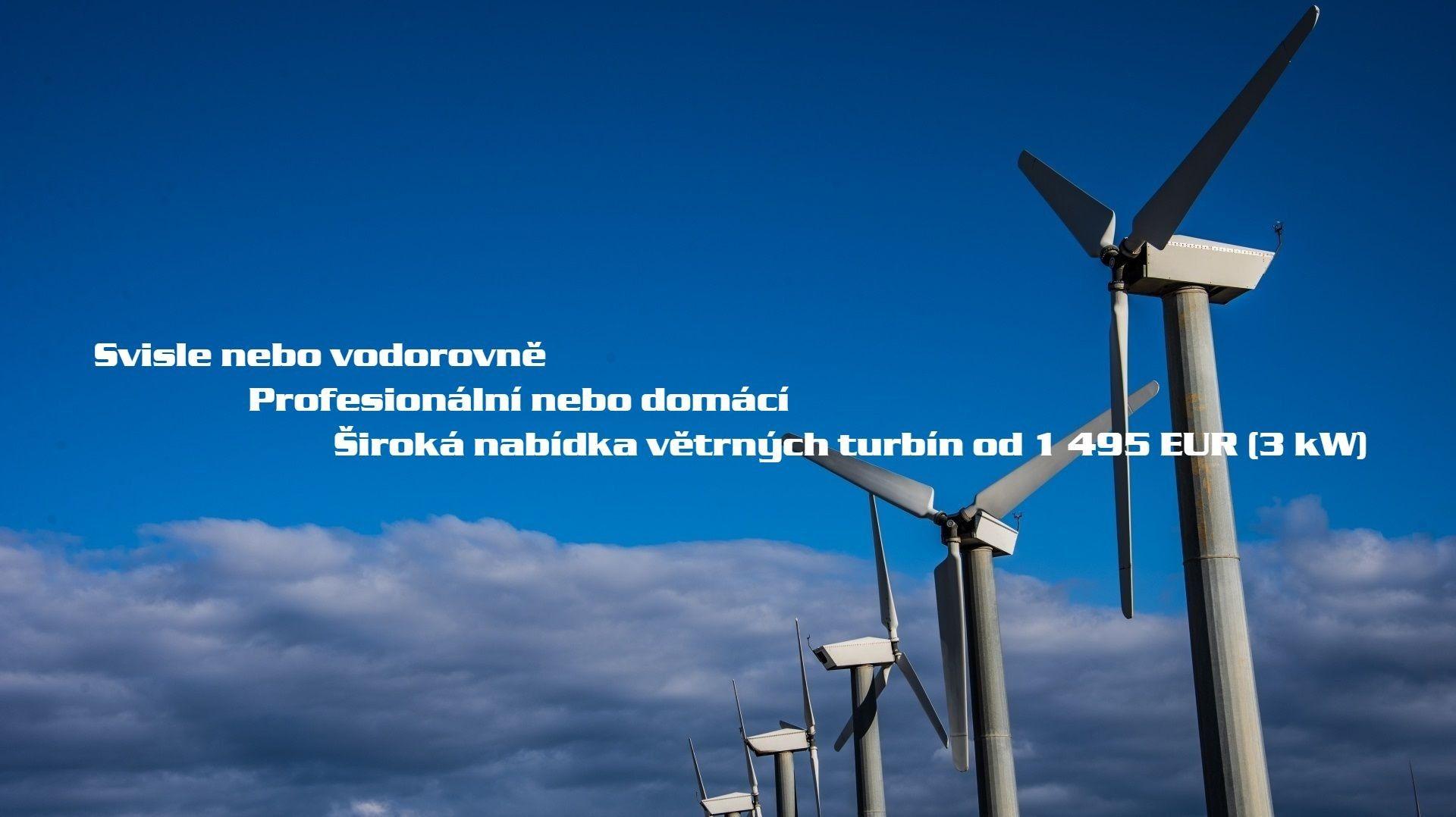 horizontální a vertikální větrné turbíny